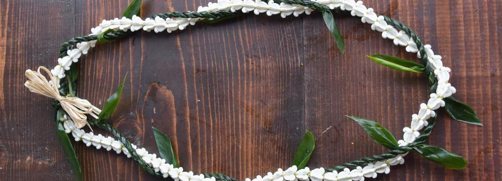Ti leaf and crown flower lei twist