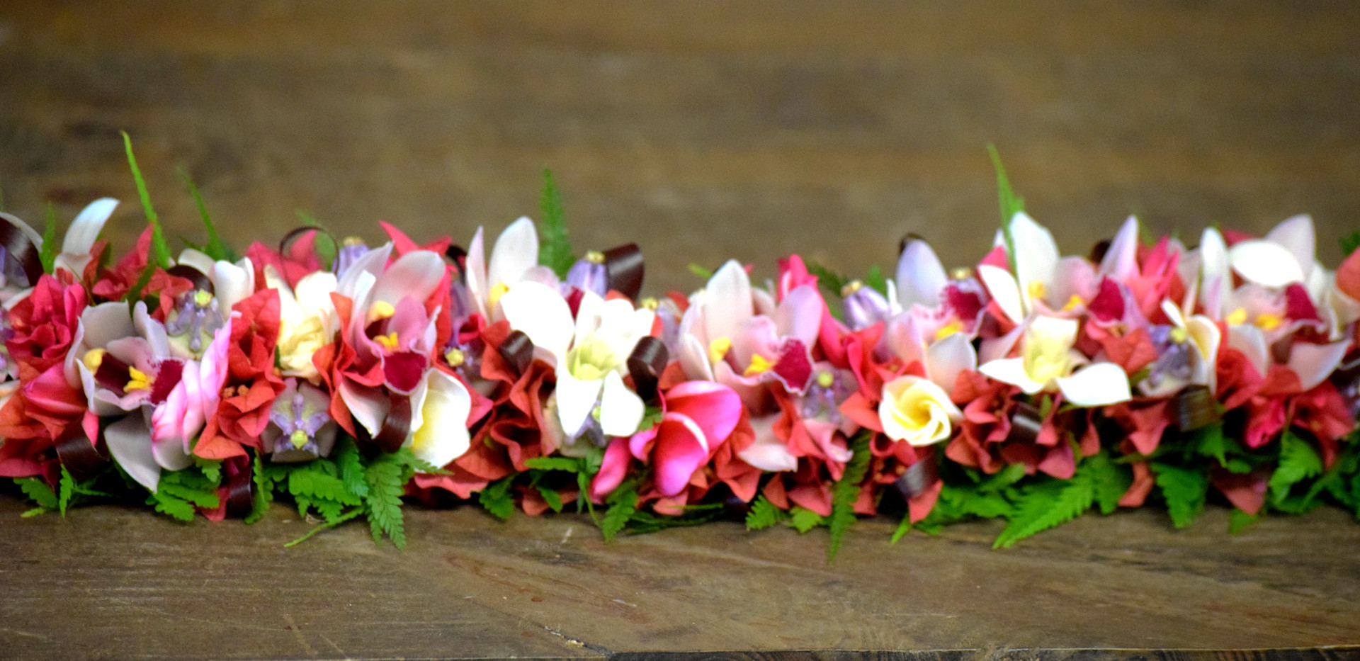 Pinks, whites and purples lei po'o