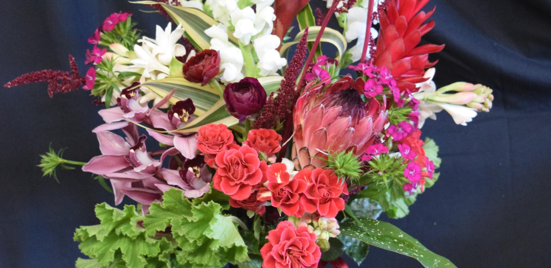 Large tropical nouveau vase arrangement