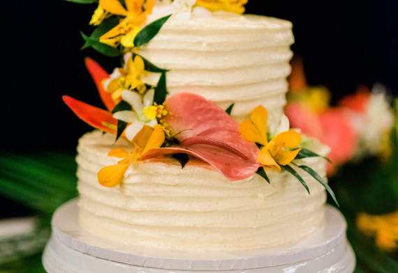 Cake flowers in bright tropical flowers