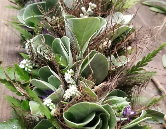 Silver, brown and green foliage lei po'o