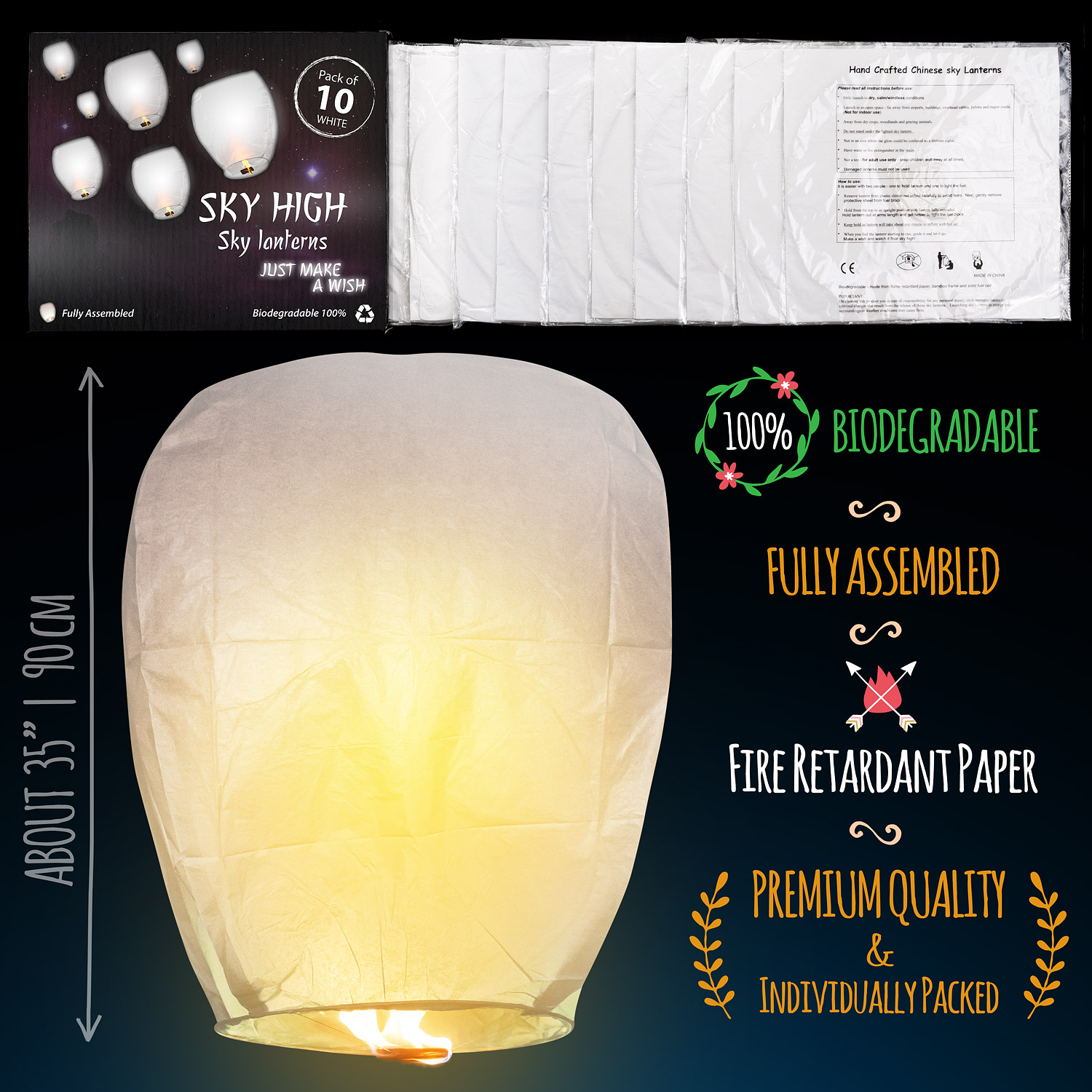 Chinese lanterns sky lanterns  Measures_white