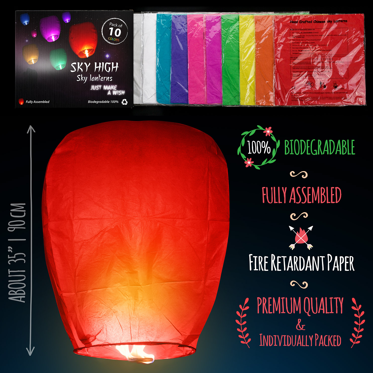 Chinese lanterns sky lanterns  Measures_color