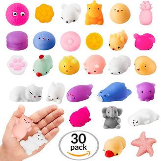 Squishies 30 Pack Random Kawaii Squishy Mochi Set Mini Soft Squeezable Sensory Fidget Toys Decoration and Stress Relief for Party Favors, birthdays and goodie bag, Bulk Items Squshiy, Squshies, Squashes, Squashy, Squishis, Squishiy