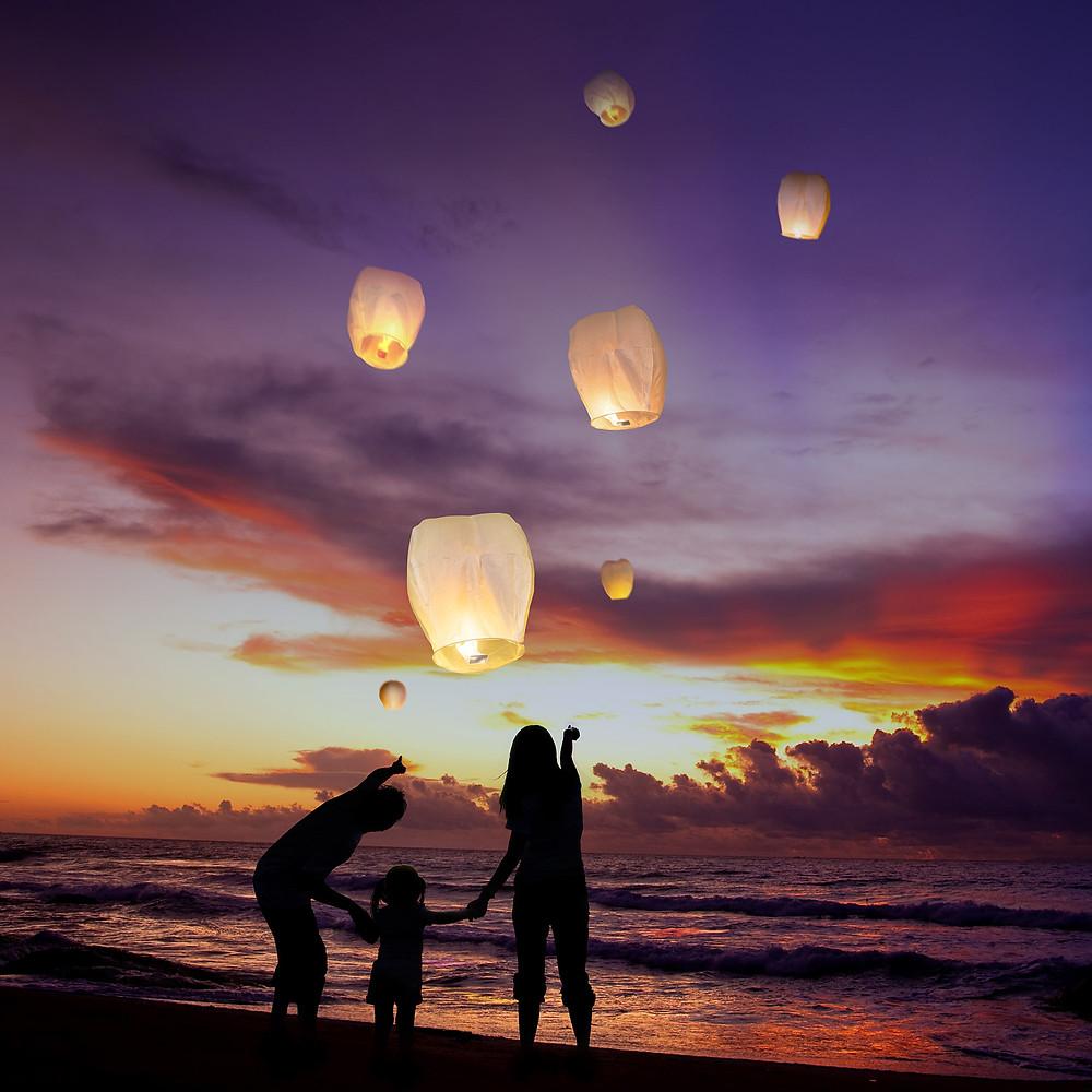 Chinese lanterns. sky lanterns