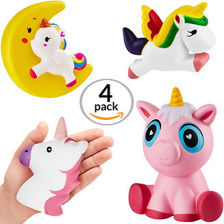 CORAL ENTERTAINMENTS Jumbo Unicorn Squishies Set 4 Piece Kawaii Slow Rise Foam Extra Large Unicorn Party Supplies Giant Squeeze Children's Collectible Stress Fidget Toys Squshy, Squishis, Squishiy, Squishie, Squashy, Squshies, Squashes, Squshiy
