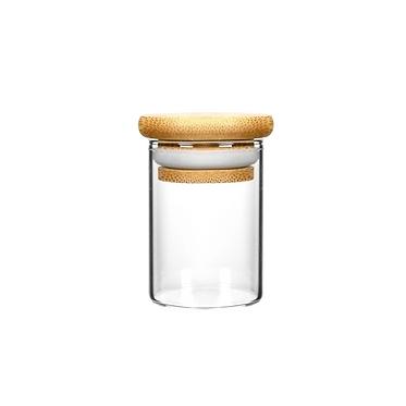Wood Lid Suction Glass Jars