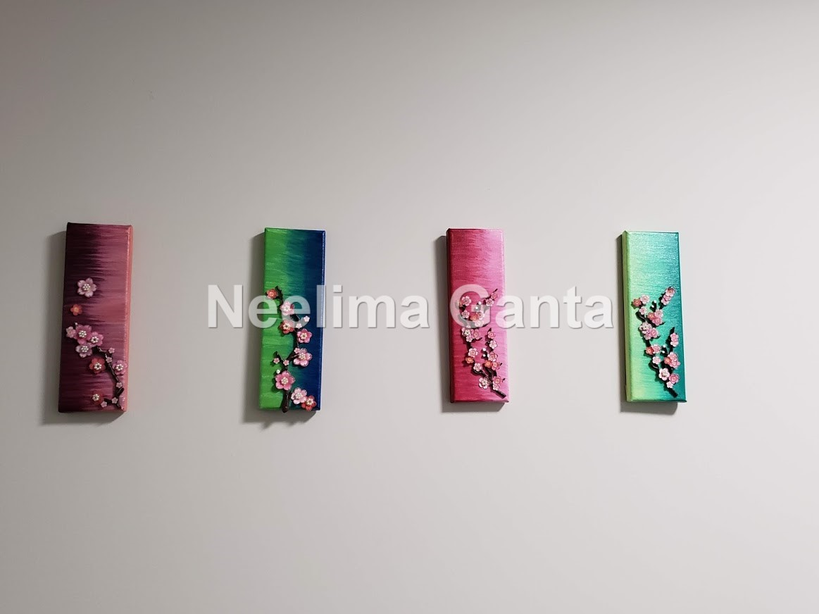 4 pc Floral abstract painting