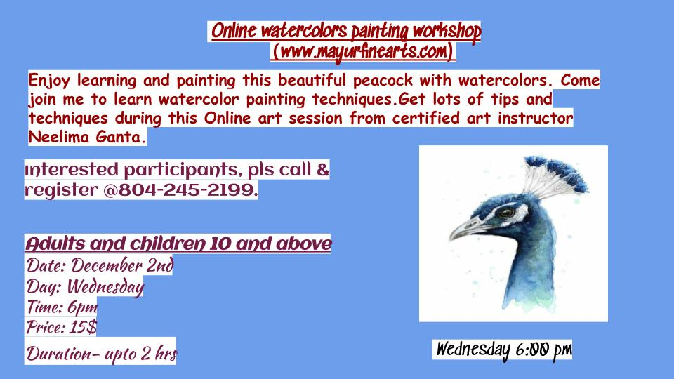 Peacock watercolor workshop