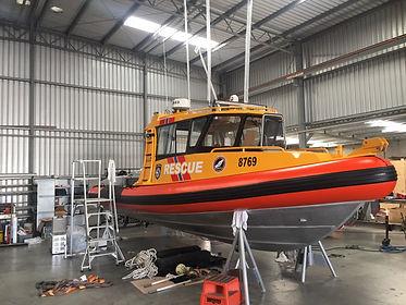 Rescue vessel undergoing a refit.