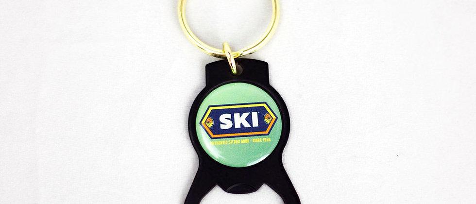 SKI Brass Bottle Opener Key Chain