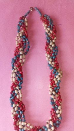 a multi-strand necklace made by the women