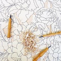 Breaking ground on my peony print 💕 #printmaking #print #ink #wood #carving #woodcut #reliefprint #peonies #flowers #botanical #art #artwork