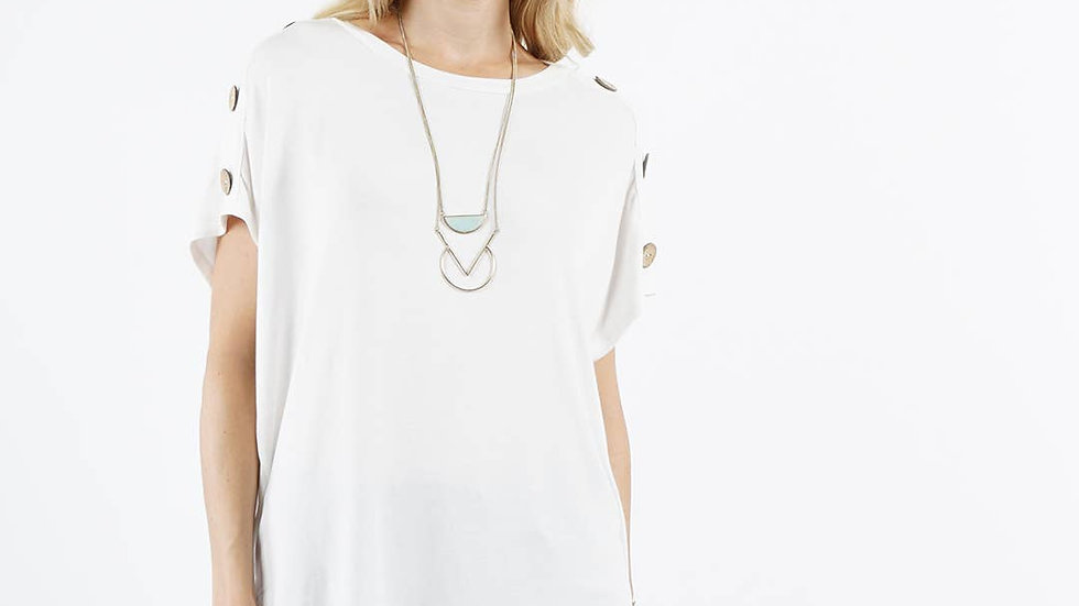 Shoulder button detail tunic Ivory - 42pops