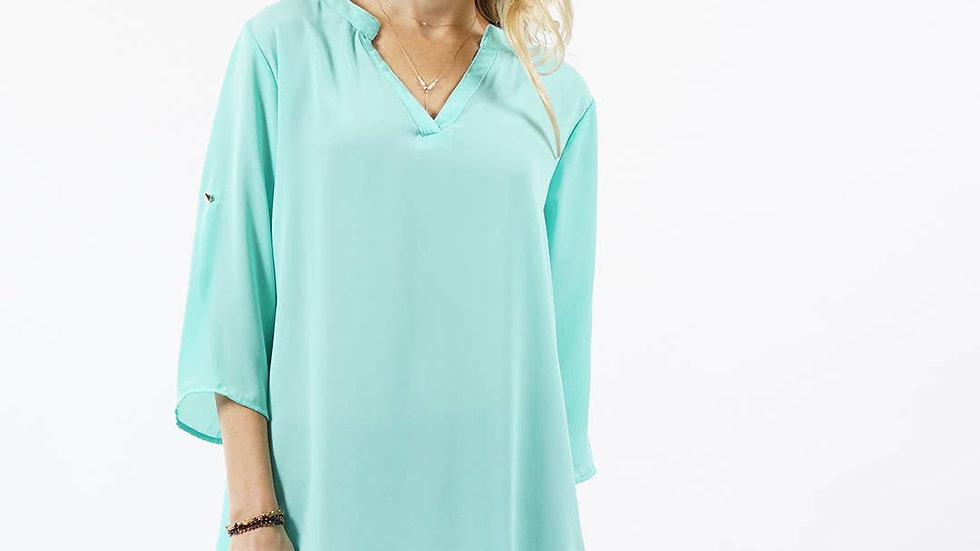 Fold-over sleeve notch neck hi-low blouse Mint- 42pops
