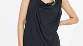 Sleeveless Asymmetric Draping Top Black - 42pops