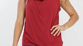 Sleeveless Asymmetric Draping Top Burgandy - 42pops