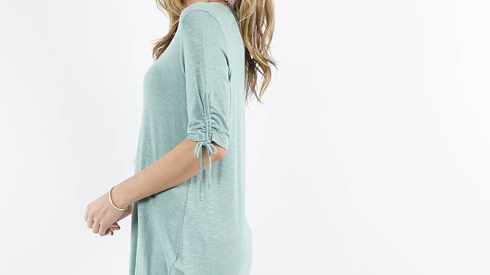 Ruched Sleeve Tunic Sage - 42pops