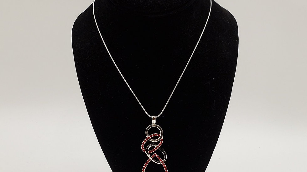 Silver/Red ovals necklace