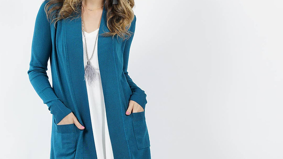 Rib lined two-pocket sweater cardigan Teal - 42pops
