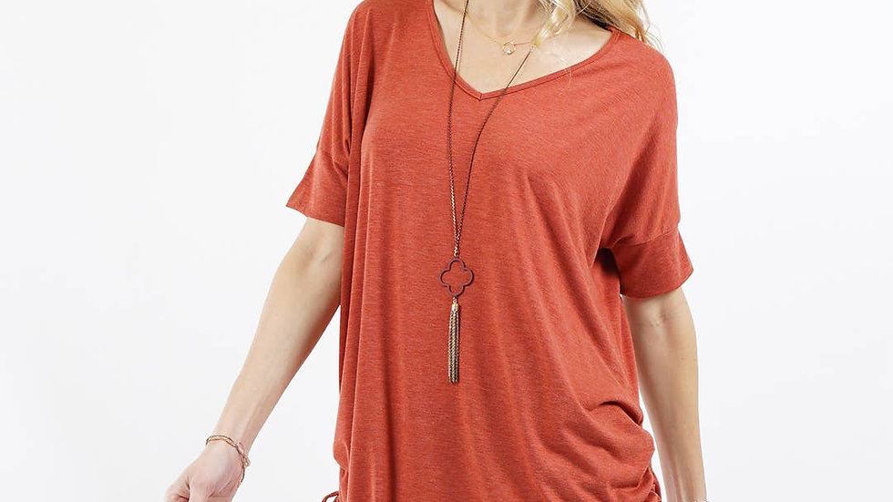Side ruched drawstring tunic Rust- 42pops