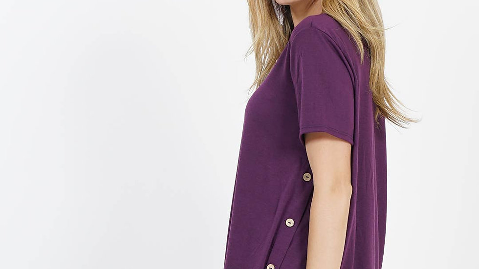 Side Button Detailed Short Sleeve Top Eggplant- 42pops