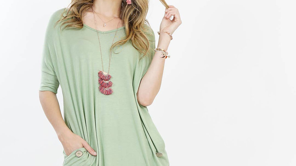 V-neck two-pocket button-accent tunic Sage- 42pops