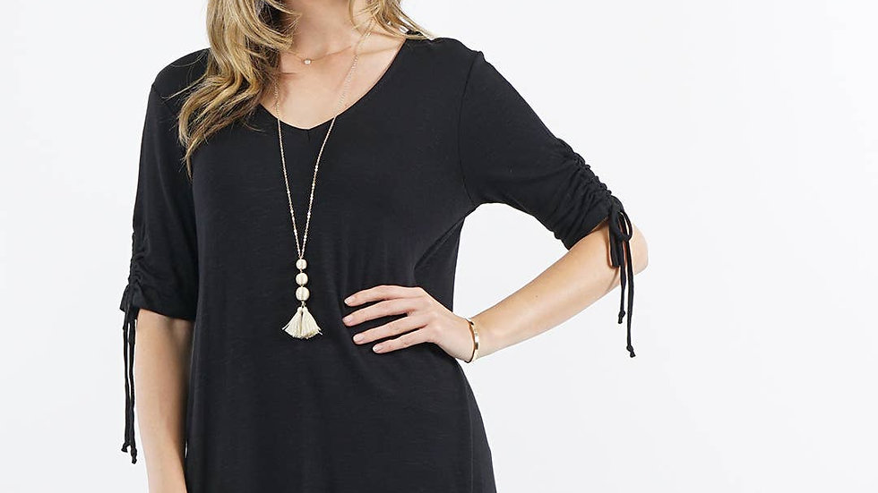 Ruched Sleeve Tunic Black - 42pops
