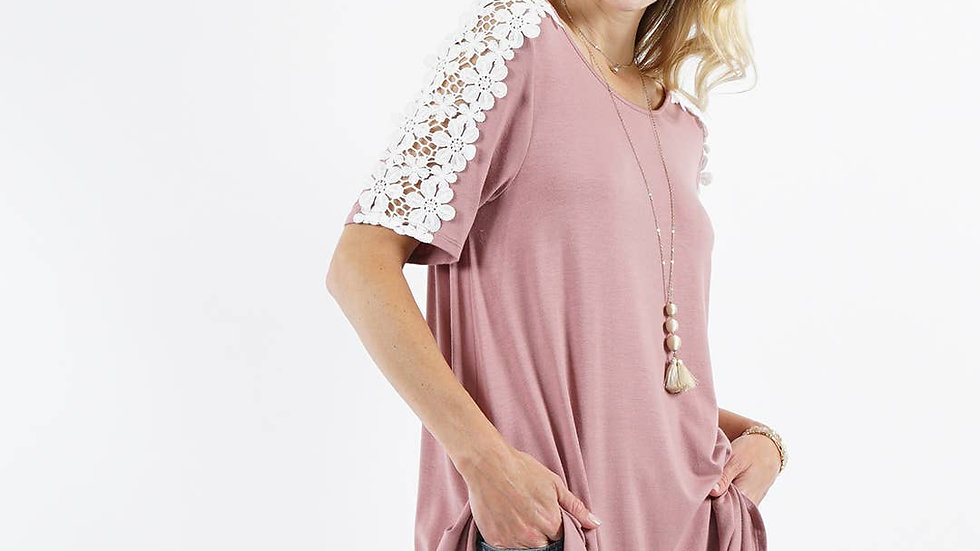 Crew neck Shoulder Flower Crochet Tunic Mauve- 42pops