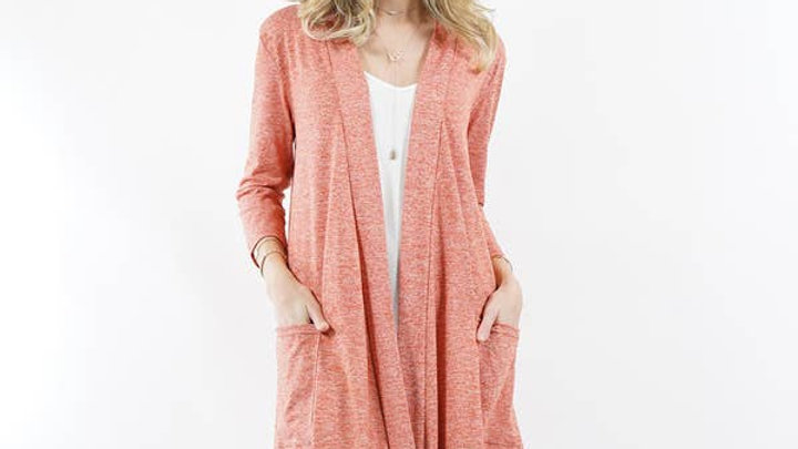3/4 Sleeve Slouchy Pocket Cardigan - 42pops