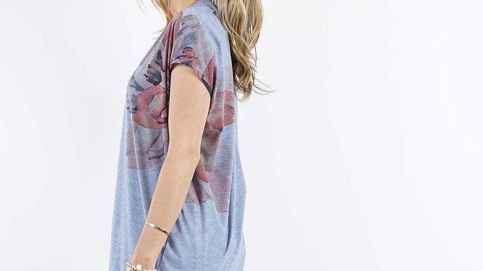 Sublimation floral print v-neck tunic Denim - 42pops