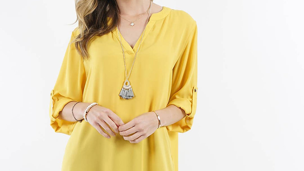 Fold-over sleeve notch neck hi-low blouse Yellow Gold- 42pops