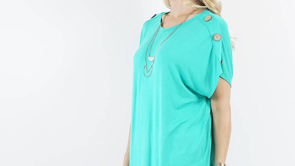Shoulder button detail tunic Mint - 42pops