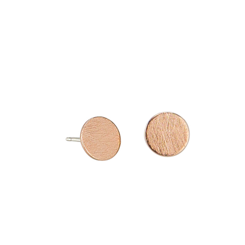 Rose Gold Brushed Circle Earring