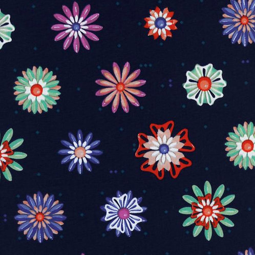 Cotton+Steel - Enamel Flowers Navy (1/2m)