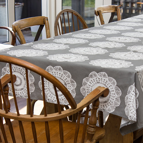 English Lace Tablecloth Charcoal