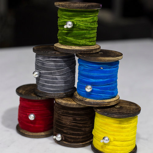 Wooden Spool Velvet Ribbons
