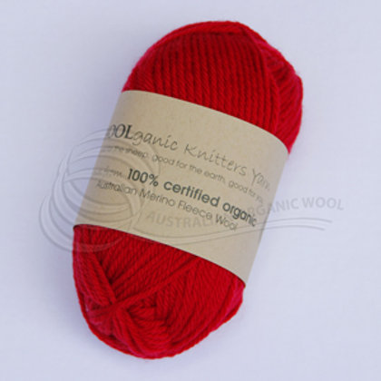Australian Organic Wool - Chilli Pepper 8 ply