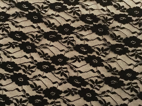 Black Floral Lace Swirl - Stretch(1/2M)