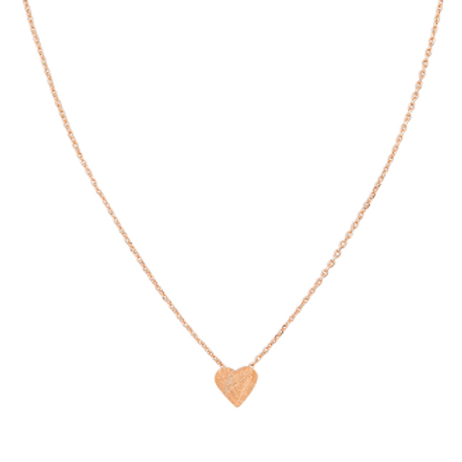 Rose Gold Brushed Heart Necklace