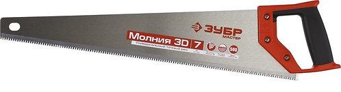 Ножовка универсальная (пила) ЗУБР МОЛНИЯ-7 500 мм, 7 TPI, закалка, рез вдоль и п