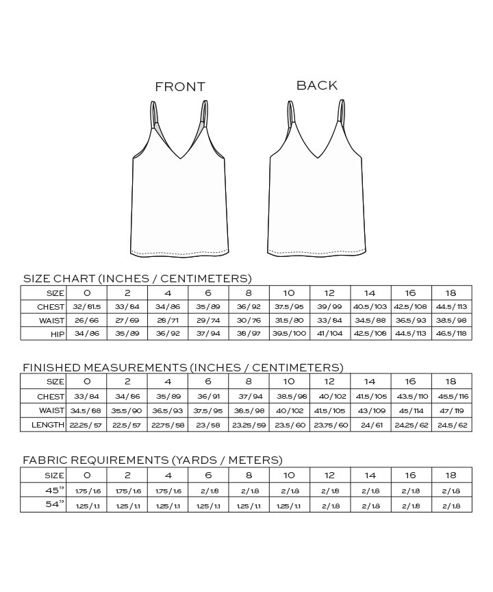 Ogden Cami - Size and Yardage Info