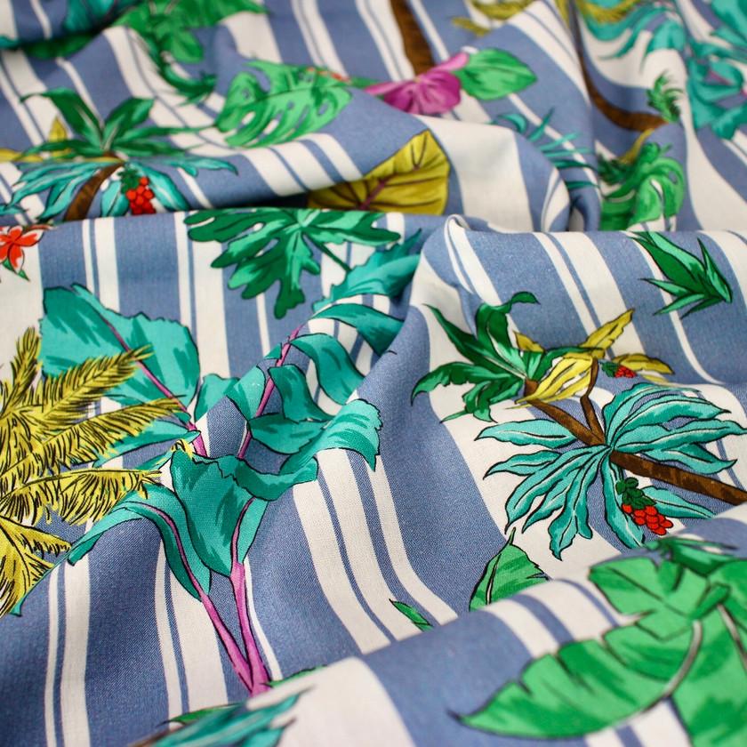 Viscose Linen - Stripey Palms