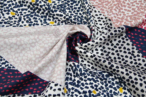 Red Bull - Stretch Cotton Patchwork Dots - 1/2 metre
