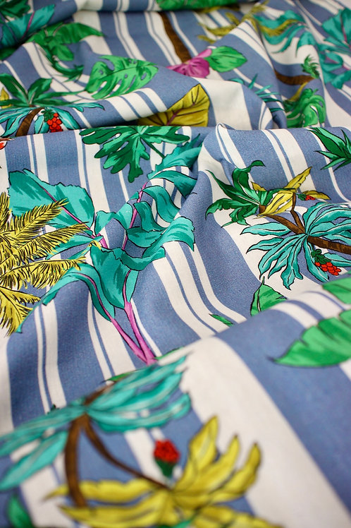 Linen Viscose - Stripey Palms Blue - 1/2 metre