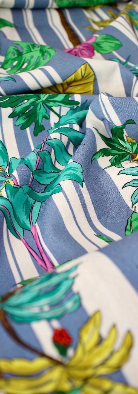 Linen Viscose - Stripey Palms