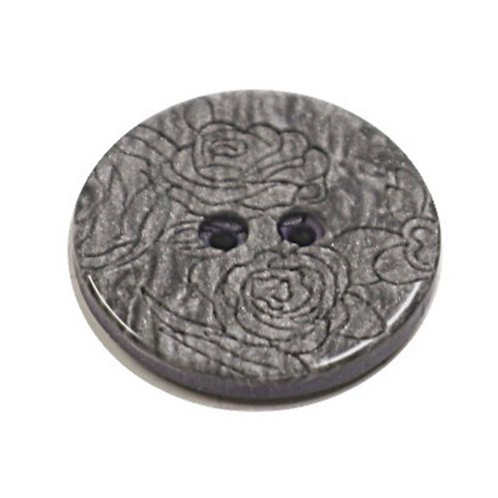 Acrylic Button 2 Hole Engraved 18mm Silver Grey