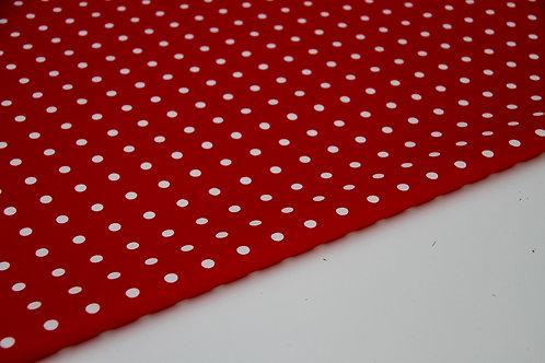 Stretch Cotton - Red Polka Dots - 1/2 metre