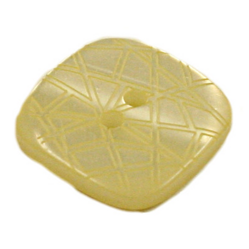 Acrylic Button 2 Hole Square Gloss Embossed 14mm Lemon