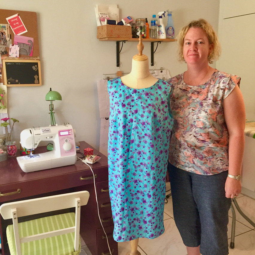 Meet Zoe and her new shift dress she made in my dressmaking 2 course.